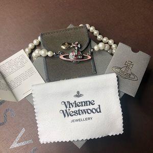 Vivienne Westwood Pink Silver Orb Necklace